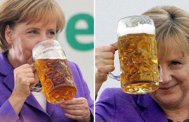 Merkel tomando cervecitas